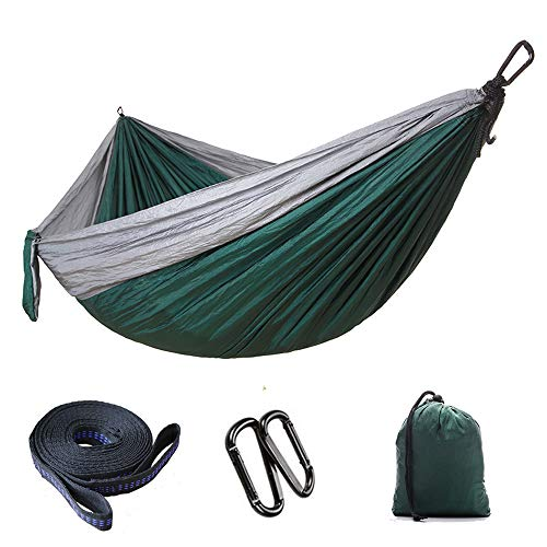 N/D Outdoor Camping Nylon Hammock, Single Double Camping And Cycling Indoor Leisure Swing, Stretch Resistance And Long Service Life, With Storage Bag, 270X140Cm dark green