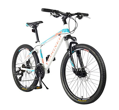 YEOGNED 24' Suspension Variable Speed Aluminum Mountain Bike, Suitable for Boys Girls Teenager, 2 Colors (White)