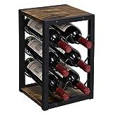 OROPY Portabottiglie Vintage in Legno per 6 Bottiglie, mensola portabottiglie da appoggio a 3 Ripiani da appoggio per Cucina, Mobile, Bar, Cantina, Giardino