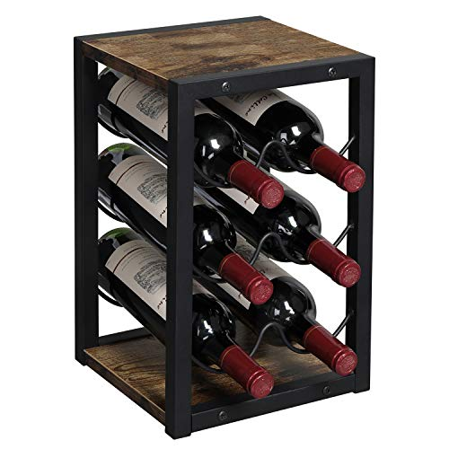 OROPY Vintage Weinregal für 6 Flaschen aus Holz, 3-Etage Freistehender Desktop Flaschenhalter, Lagerregal für Küche, Schrank, Bar, Keller, Garten
