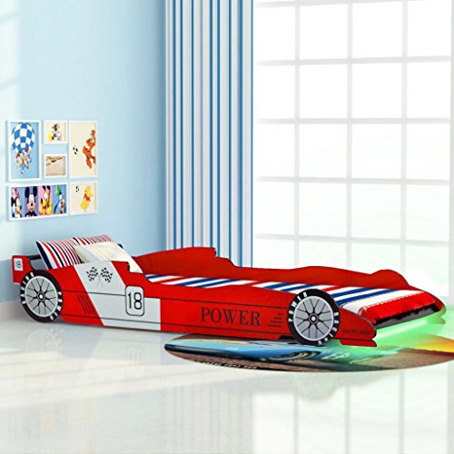 KIDS LED RACING CAR BED FRAME | RED OR BLUE SINGLE BED | 4 YEARS + | 3FT BY 6FT 90X200CM (RED)