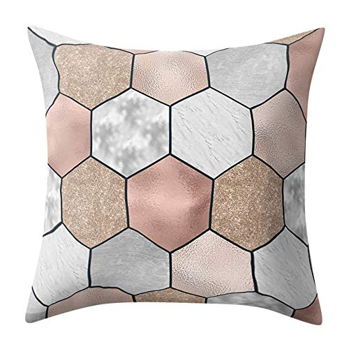 Kissenbezug 45 x 45 cm Super weicher Stoff Geometrische Marmor Textur deko Kissenbezüge Sofa Taille Wurf Kopfkissenbezug kissenhülle Pillow Cover by LuckyGirls (E)
