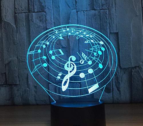Muziekale noot cirkel 3D-lamp meerdere kleuren LED nachtlamp voor kinderen Touch LED USB tafel baby slapen nachtlicht kinderlamp afstandsbediening telefoon Bluetooth control kleur