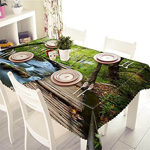 YGHBKL Wooden rowway on the rectangular tablecloth of the Country Creek 3D tablecloth made of polyester picnic cloth 90 x 180 cm