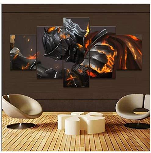 LCCWLH ImpresionessobreLienzo 5 Paneles Armor Dark Souls III Knight Game Warrior Poster Decoración para El Hogar Arte De La Pared Imagen Tamaño C
