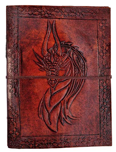 Kooly Zen – Cuaderno de notas, diario, libro, piel auténtica, vintage, cabeza de dragón medieval celta, 13 x 17 cm, 240 páginas, papel premium