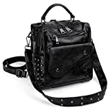 UTO Women Studded Backpack Purse PU Leather Convertible Ladies Rucksack Zipper Pocket Crossbody Shoulder Bag Black