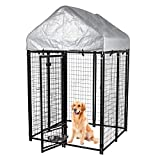 FoxHunter Heavy Duty Outdoor Large Metal Dog Kennel with Canopy Cover Roof Pet House Enclosure Run Cage Play Pen FH-DK02 Black