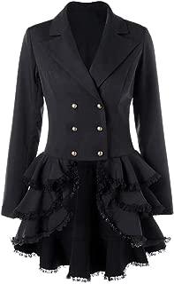 Women's Peplum Blazer Coat Notch Lapel Slim Fit Lace Ruffle High Low Hem Blazer Double Beasted Jacket Suit Tops