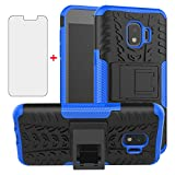 Phone Case for Samsung Galaxy J2 Pure J2 Core J 2 Dash 2J Shine with Tempered Glass Screen Protector Cover and Stand Hard Rugged Cell Accessories J2Core J2Dash J2Pure J2Shine SM-J260A J260A Black Blue