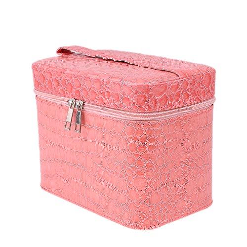 MagiDeal Trousse de toilette de voyage pour cosmétiques, maquillage, bijoux, ongles – Rose