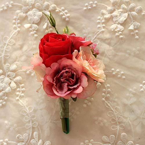 Shunbao, 1 pcs Corsage Poignet Fleur Rose Soie Ruban Mariée Corsage Main Décoratif Bracelet Bracelet Demoiselle d'honneur Rideau Bande Clip Bouquet (Color : E)