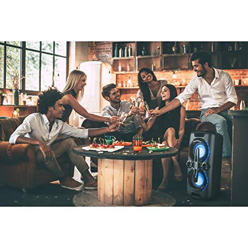 MEDION P67013 Party-Soundsystem (Partylautsprecher Karaoke, Bluetooth, Kompaktanlage, 440 Watt, Farbige LED, PLL UKW Radio, USB, AUX, Mikrofonanschluss)