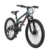 BIKESTAR Bicicleta de montaña de Aluminio Suspensión Doble Bicicleta Juvenil 24 Pulgadas de 9 años | Cambio Shimano de 21 velocidades, Freno de Disco | niños Bicicleta | Verde