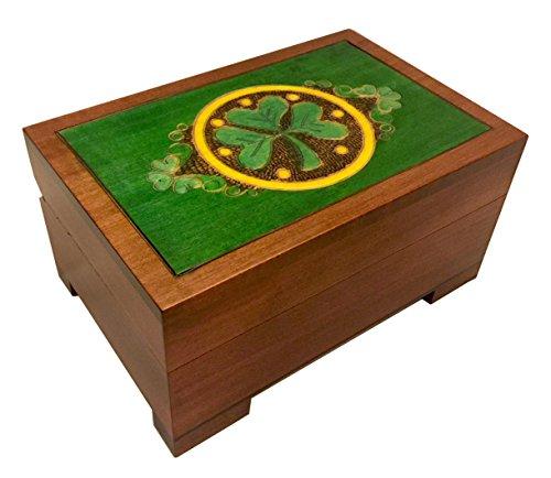 Celtic Shamrock Wooden Chest Box Handmade Linden Wood Celtic Keepsake Jewelry Box Made in Poland