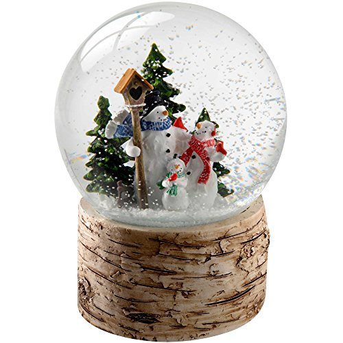 WeRChristmas Snowman Family with Birch Base Snow Globe Christmas Decoration, 13 cm - Multi-Colour