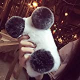 LCHULLE kompatibel mit Samsung Galaxy S9 Plüsch Hülle Flauschige Panda Hülle Handyhülle süß weiche Handytasche Schützend Stoßfest Silikonhülle für Damen Mädchen Schutzhülle Weiß