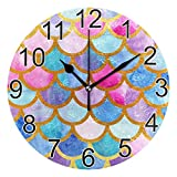 J JOYSAY Mermaid Scales Bright Summer Round Wall Clock Silent Non Ticking Decorative Wall Clock Battery Operated Home Office Art Clock