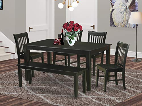 East West Furniture 6-Piece Dinette Set Included a Rectangular Dinner Table and 4 Dining Room Chairs Plus a Lovely Bench - Solid Wood Kitchen Chairs Seat & Slatted Back - Black Finish