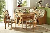 Eckbankgruppe Littau - Buche Natur Dekor 2 Stühle und 1 Tisch ausziehbar - Bezug cremeweiß floral - variabel aufbaubar