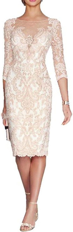 Ai Maria Women's Knee Length Sheer Neck Applique Mother of The Bride Dresses