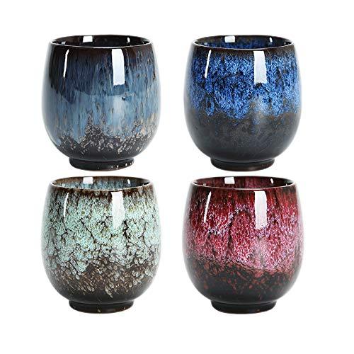 Taza de té japonesa, juego de tazas de té de cerámica, juego de 4 tazas hechas a mano, tazas de cerámica esmaltadas flameadas multicolores, para el hogar, la oficina, los regalos, las tazas de té
