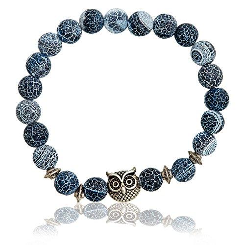 Selia elegantes Eulen Armband Blau Armreif Glück minimalistisch handgemacht (Eule)