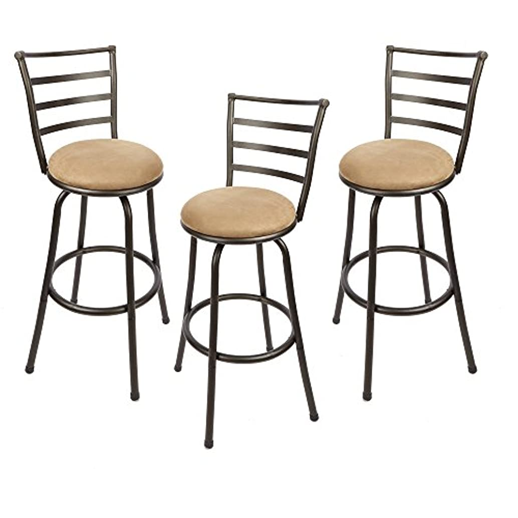 Adjustable-Height Swivel Barstool, Hammered Bronze Finish, Set of 3,