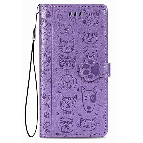 JIUNINE Hülle für Xiaomi Poco F2 Pro, Karikatur Handyhülle PU Leder Flip Hülle mit [Kartenfach] [Magnetverschluss] Schutzhülle Tasche Cover Lederhülle für Xiaomi Poco F2 Pro, Lila