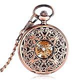 J-Love Reloj de Bolsillo mecánico de Cuerda Manual Hueca de Oro Rosa Pantalla de números Romanos Reloj de Bolsillo Antiguo Los Mejores Regalos de cumpleaños