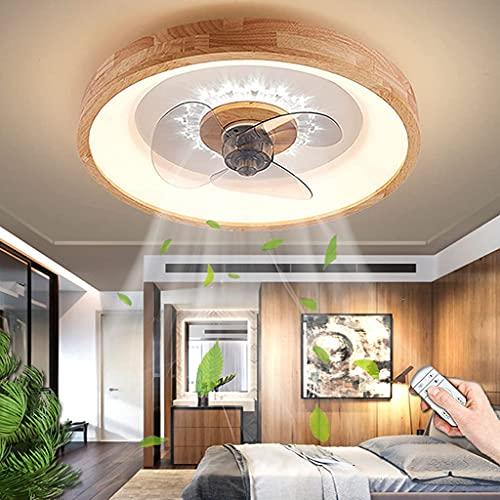 Ventilador De Techo LED Con Luz 60W Regulable Con Control Remoto Ventilador Luz De Techo Diseño De Madera Moderno Fan Lámpara De Techo Mesa De Comedor Sala De Estar Dormitorio Iluminación (A)
