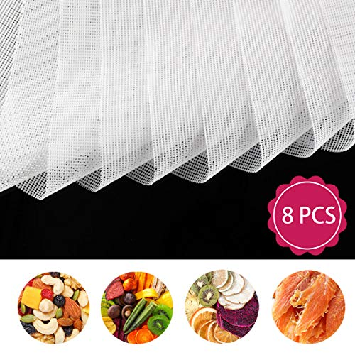 8 PCS Square Silicone Dehydrator Sheets, Premium Non Stick Food Fruit Dehydrator Mats, Reusable Steamer Mesh Silicone Baking Mats for Fruit Dryer Mesh, Top Dehydrator Accessories (14 x 14 inch)