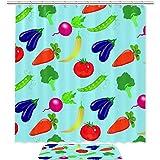TIZORAX Gemüse Aubergine Tomatenbohnen Bad Duschvorhang Set mit rutschfesten Bad Teppichen Bodenmatte Home Decoration