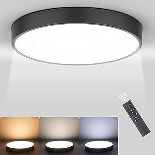 Ketom Plafonnier LED Dimmable 27W Plafonnier LED Télécommande 2800K-6500K Moderne Lampe de Plafond Noir Rond Éclairage de ...