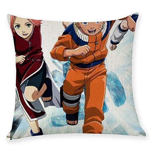 Gorgeous Store Conjunto De Funda De Almohada Naruto Satin Pillowcasas para El Cabello Y El Paquete De Piel De 2 Almohadas Talla Estándar (45 X 45 Cm) (Color : A, Size : Flax)