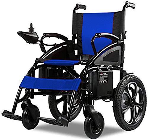 Alton All Terrain Heavy Duty Powerful Dual Motor Foldable Electric Wheelchair Motorized Power Wheelchairs Silla de Ruedas Electrica para Adultos. Supports up to 300 lbs - Weight 70 lbs (Blue)