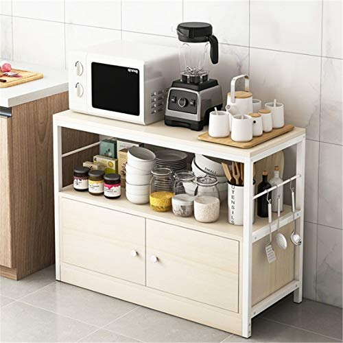 Microwave Cart Stand Kitchen Microwave Oven Rack Floor Type Household Daquan Multi-layer Shelf Multi-function Storage Cupboard Storage Shelf Simple and Durable ( Color : White , Size : 80x35x80cm )