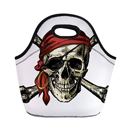 Semtomn Lunch Tote Bag Aggressor Pirate Skull and Crossbones Earring on Blank Reusable Neoprene Insulated Thermal Outdoor Picnic Lunchbox for Men Women