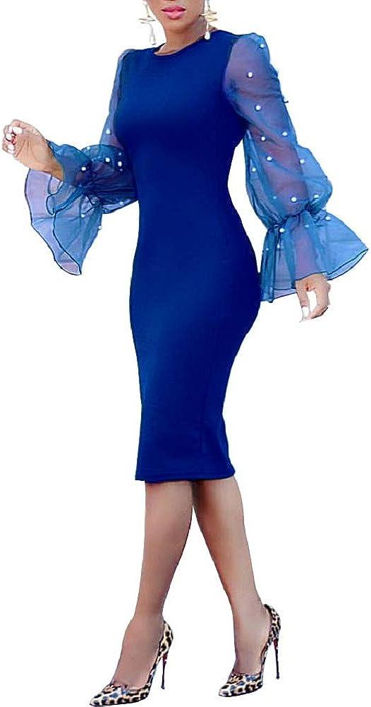LETSVDO Women's Elegant Scoop Neck Solid Ruffle Long Sleeve Bodycon Party Midi Dress