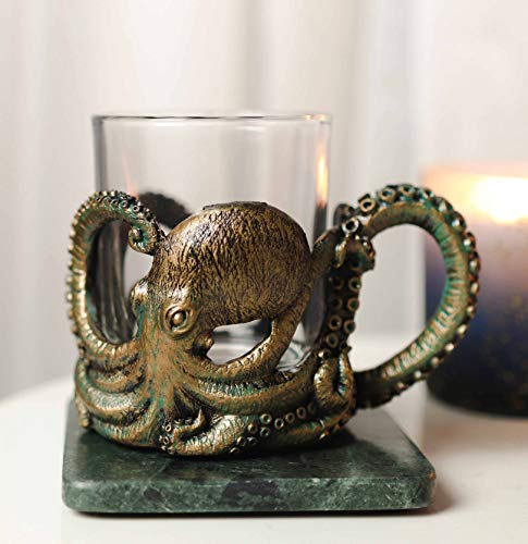Ebros Gift Nautical Coastal Reef Giant Kraken Sea Octopus Wrapping Its Tentacle Legs Around A Glass Votive Candle Holder Figurine Or Drinking Coffee Mug Cup 12oz