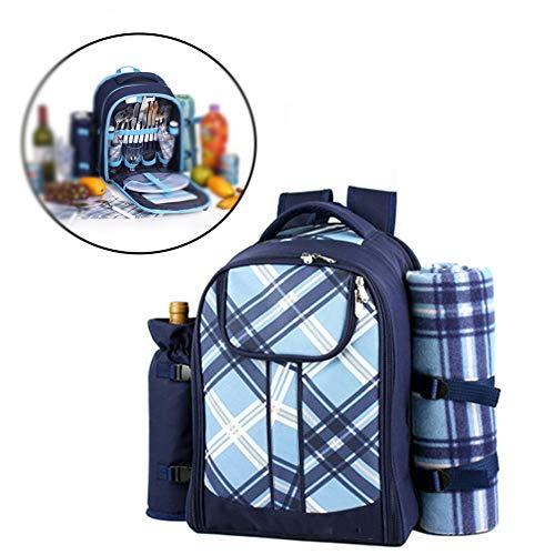 Picknickrucksack für 4 Personen, Korb mit Kühltasche Integriertem Kühlfach mit Picknickmatte Kann Geschirr Aufnehmen für Camping im Freien,Blau