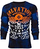 Affliction Archaic Mens Long Sleeve Thermal Shirt Black Tide Skull (XX-Large)