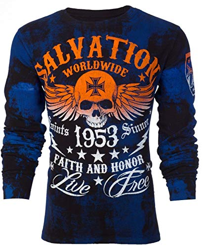 Affliction Archaic Mens Long Sleeve Thermal Shirt Black Tide Skull (XXX-Large)