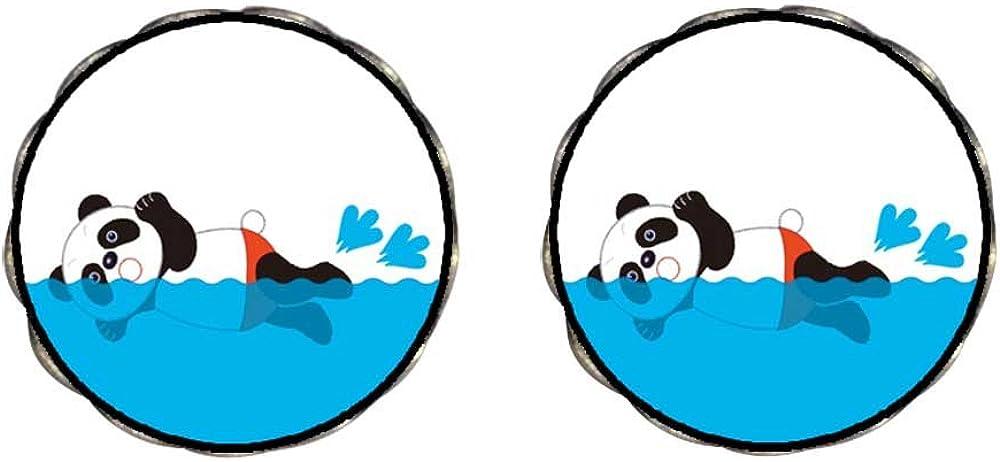Bronze Retro Style Olympics panda butterfly swimming cartoon Clip On Earrings Flower Earrings #12