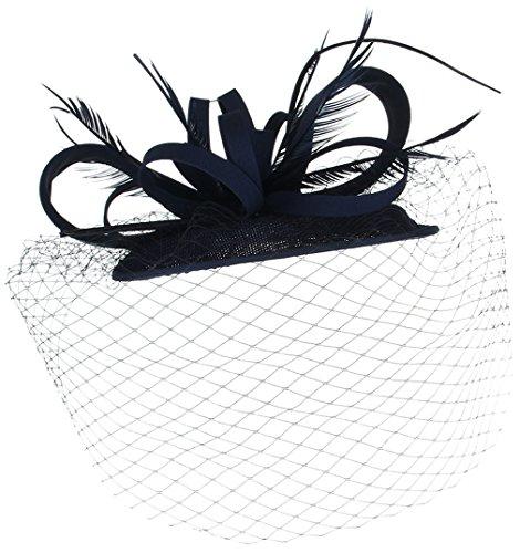 La Vogue Chapeau Mini Voile Plume Femme Mariage Cérémonie Accessoire Cheveux Marine