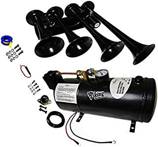 Viking Horns V3301/003AB Black Four Trumpet Loud 149 Decibels Train Air Horn System Kit …
