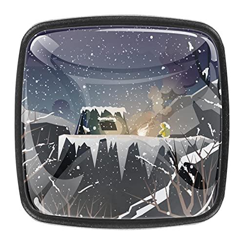 Skåpsknoppar 4 st draghandtag i kristall, berg camping kulle trä vinter, för öppen möbeldörr eller låda