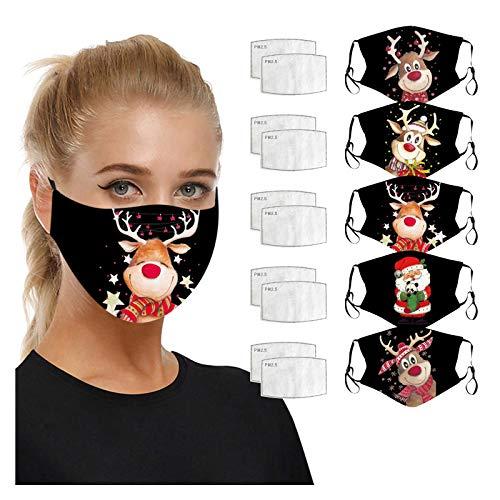 5 Stück Mundschutz Waschbar mit Weihnachten Motiv Elch, Erwachsene Mund und Nasenschutz mit 10 Stück Filters, Lustige Multifunktionstuch Herren Damen Atmungsaktive Staubdicht Halstuch