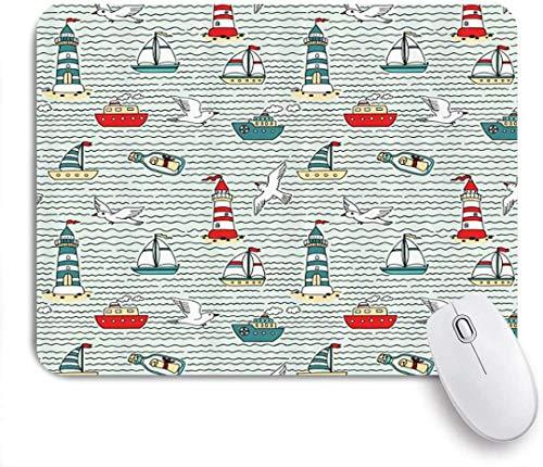 Gaming Mouse Pad Rutschfeste Gummibasis, Möwen Leuchttürme Message Flaschen Dampfboote Segelboote Wellenmuster Nautisch, für Computer Laptop Office Desk