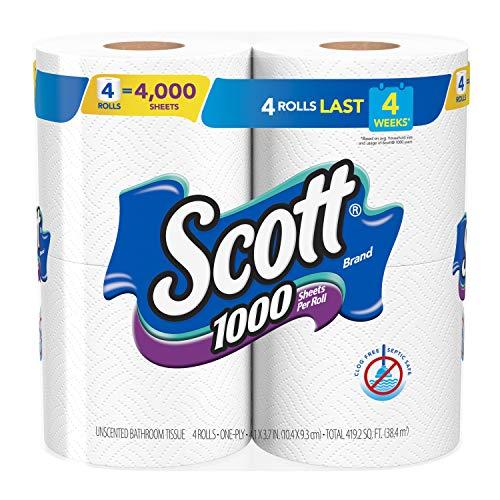 Scott 1000 Sheets Per Roll Toilet Paper, 4 Rolls